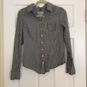 Guess black and white gingham blouse